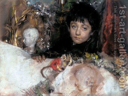 Portrait Of A Young Boy by Antonio Mancini - Reproduction Oil Painting