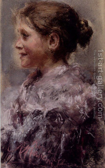 Portrait Of A Young Girl by Antonio Mancini - Reproduction Oil Painting