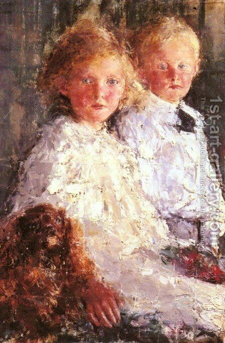 Portrait of Elizabeth and Charles Williamson with their Pet Dog by Antonio Mancini - Reproduction Oil Painting