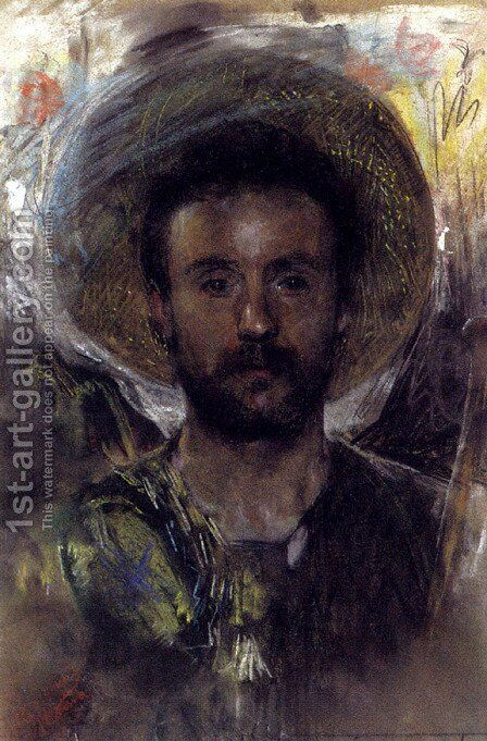 Self-portrait by Antonio Mancini - Reproduction Oil Painting