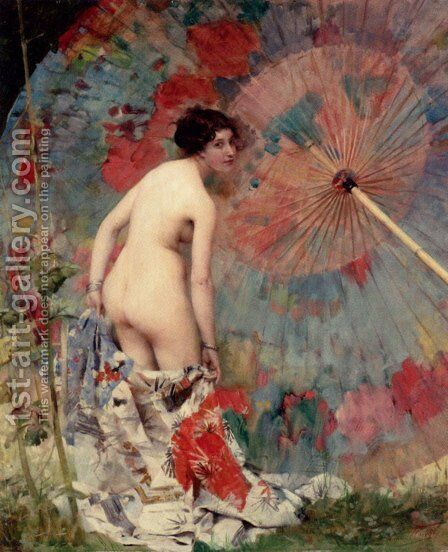Nude With A Japanese Umbrella by Aimé-Nicolas Morot - Reproduction Oil Painting