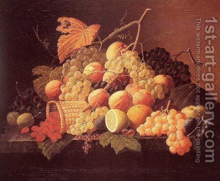 Still Life with Fruit by Severin Roesen - Reproduction Oil Painting