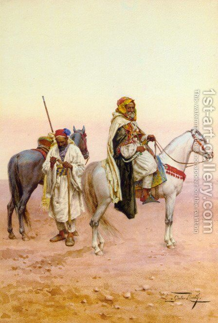 A Rest in the Desert by Giulio Rosati - Reproduction Oil Painting