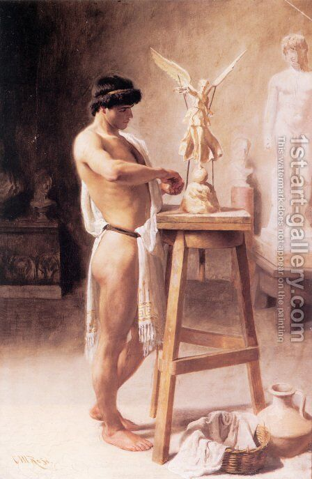 In the Sculptor's Studio by Christian Meyer Ross - Reproduction Oil Painting