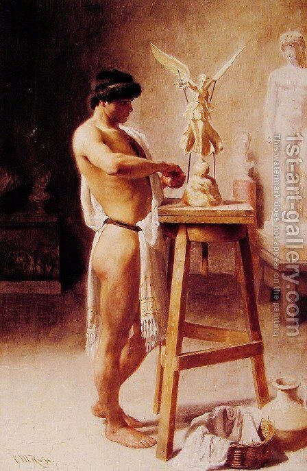 In the Sculptors' Studio by Christian Meyer Ross - Reproduction Oil Painting