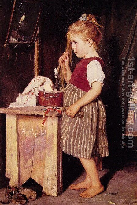 Young Girl Combing Her Hair by Agathe Rostel - Reproduction Oil Painting