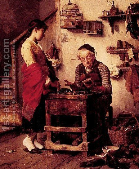 The Cobbler by Antonio Rotta - Reproduction Oil Painting