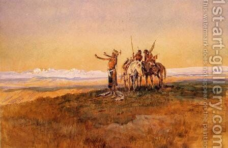 Invocation to the Sun by Charles Marion Russell - Reproduction Oil Painting