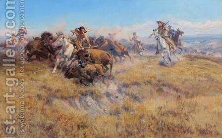 Running Buffalo by Charles Marion Russell - Reproduction Oil Painting