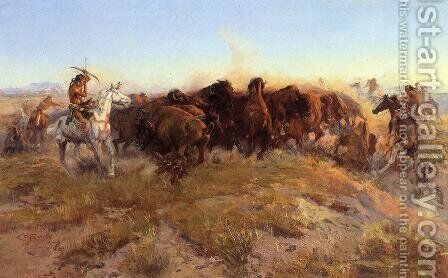 The Surround by Charles Marion Russell - Reproduction Oil Painting