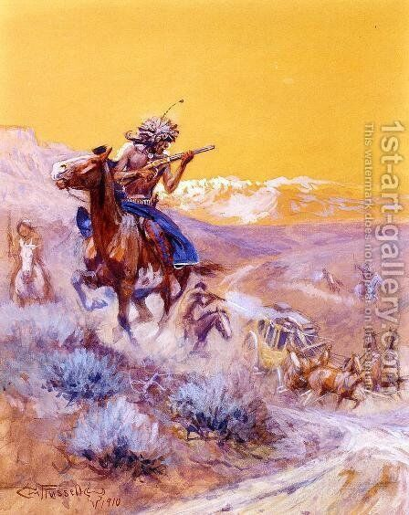 Indian Attack by Charles Marion Russell - Reproduction Oil Painting