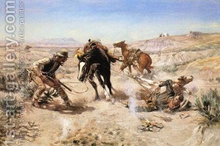 The Cinch Ring by Charles Marion Russell - Reproduction Oil Painting