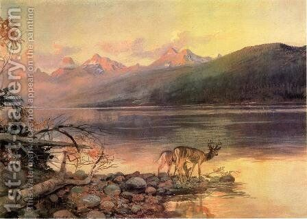 Deer at Lake McDonald by Charles Marion Russell - Reproduction Oil Painting
