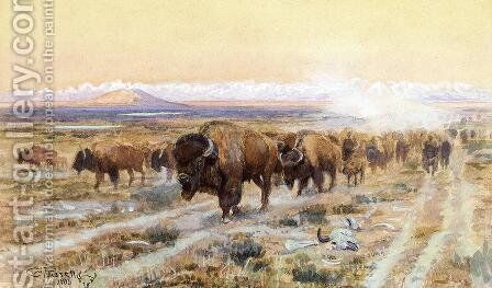 The Bison Trail by Charles Marion Russell - Reproduction Oil Painting