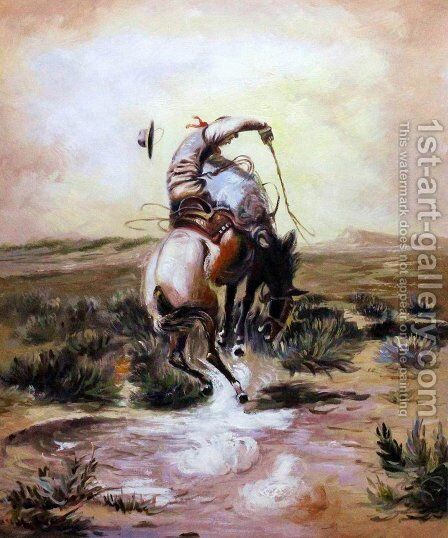 A Slick Rider by Charles Marion Russell - Reproduction Oil Painting