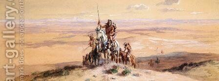 Indians on Plains by Charles Marion Russell - Reproduction Oil Painting