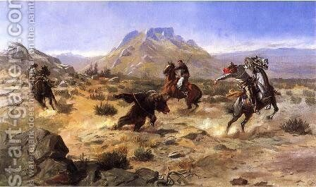 Capturing the Grizzly by Charles Marion Russell - Reproduction Oil Painting