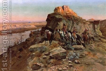 Planning the Attack by Charles Marion Russell - Reproduction Oil Painting