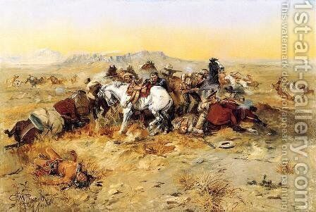 A Desperate Stand by Charles Marion Russell - Reproduction Oil Painting