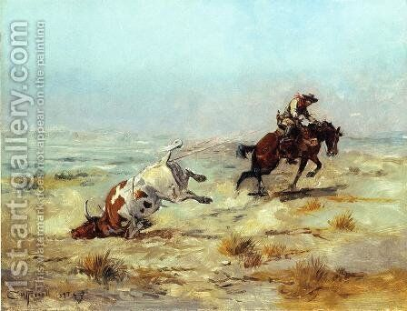 Lassoing a Steer by Charles Marion Russell - Reproduction Oil Painting