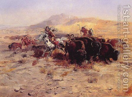 Buffalo Hunt by Charles Marion Russell - Reproduction Oil Painting