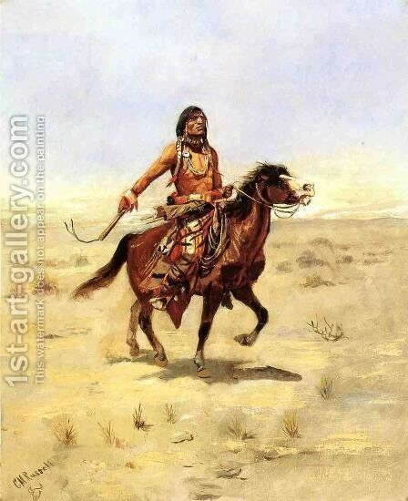 Indian Rider by Charles Marion Russell - Reproduction Oil Painting