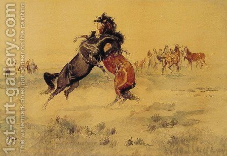 The Challenge by Charles Marion Russell - Reproduction Oil Painting