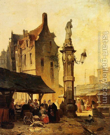 A Busy Market by Jan Michael Ruyten - Reproduction Oil Painting