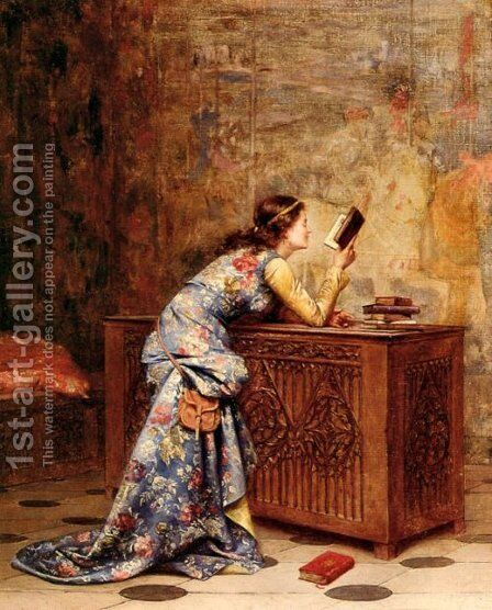 Captivated by Adolphe Alexandre Lesrel - Reproduction Oil Painting