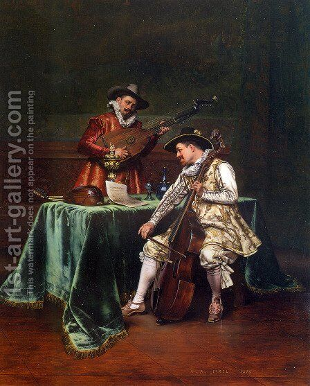 The Musicians by Adolphe Alexandre Lesrel - Reproduction Oil Painting
