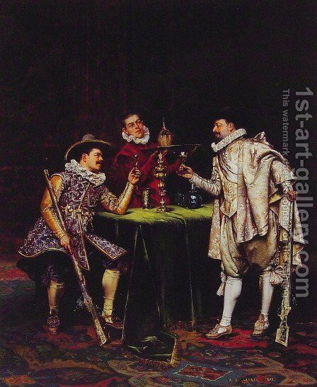 The Toast by Adolphe Alexandre Lesrel - Reproduction Oil Painting