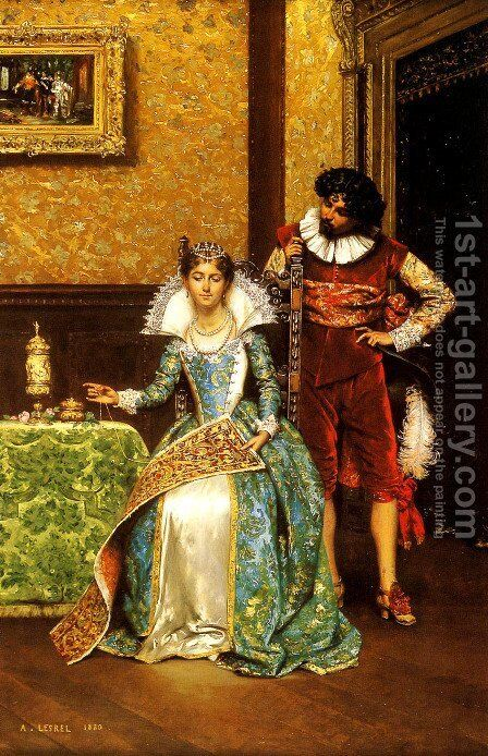 The Attentive Courtier by Adolphe Alexandre Lesrel - Reproduction Oil Painting