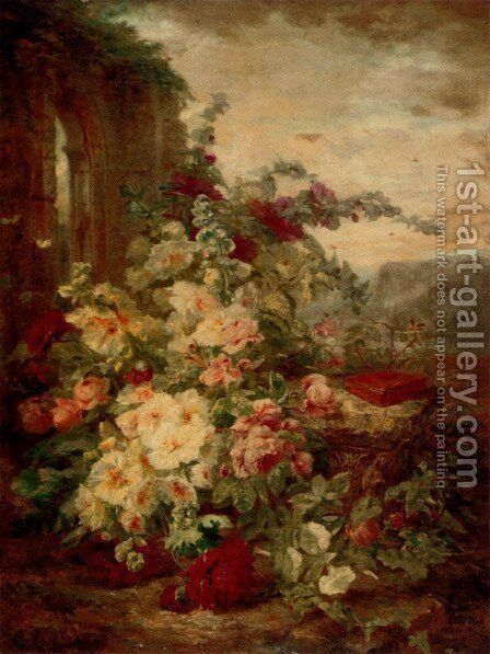 A Book on a Plinth by a Rose Bush at the Ruins by Simon Saint-Jean - Reproduction Oil Painting
