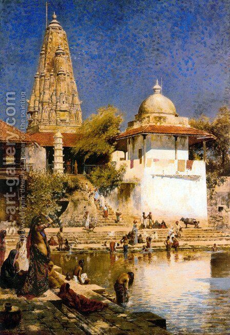 The Temple and Tank of Walkeschwar at Bombay by Edwin Lord Weeks - Reproduction Oil Painting