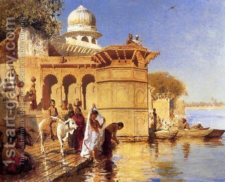 Along the Ghats, Mathura (or Picture Of The Nile) by Edwin Lord Weeks - Reproduction Oil Painting