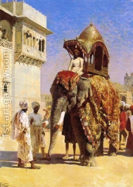 Mogul's Elephant by Edwin Lord Weeks - Reproduction Oil Painting