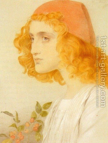 The Red Cap by Anthony Frederick Sandys - Reproduction Oil Painting