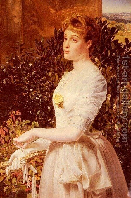 Portrait Of Julia Smith Caldwell by Anthony Frederick Sandys - Reproduction Oil Painting