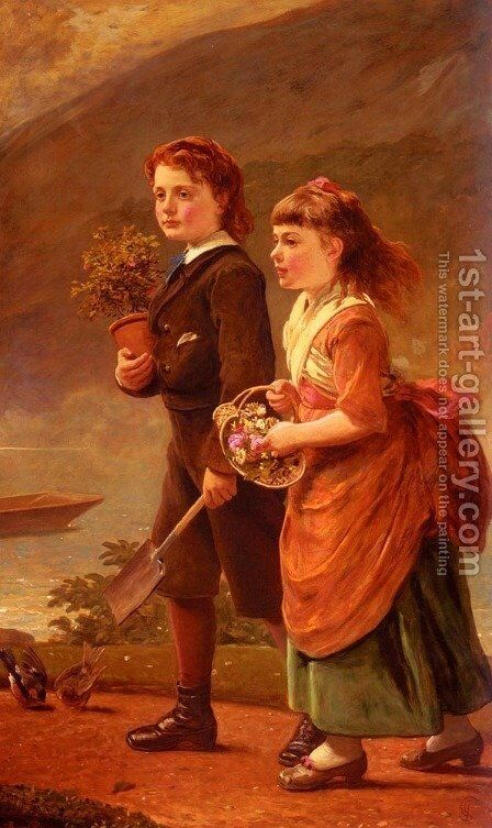 The Children Of Major H. Barrett Of Moredon, Taunton by James Sant - Reproduction Oil Painting
