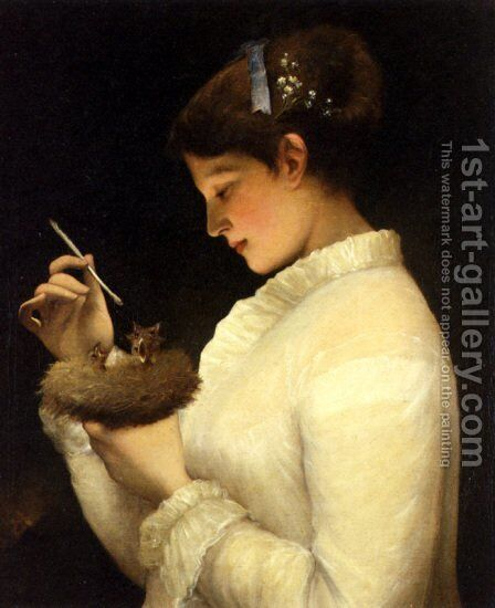 Feeding The Chicks by James Sant - Reproduction Oil Painting