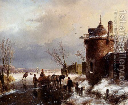 Figures With A Horse Sledge On The Ice, A Town In The Distance by Andreas Schelfhout - Reproduction Oil Painting