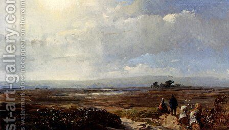 Travellers In An Extensive Landscape by Andreas Schelfhout - Reproduction Oil Painting