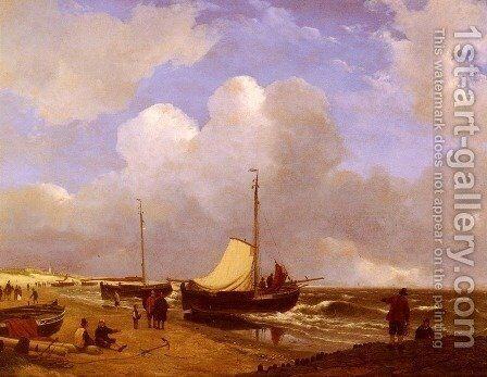Moored on the Beach by Andreas Schelfhout - Reproduction Oil Painting