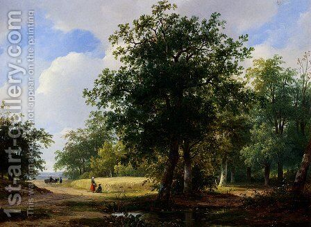 Peasants In A Cornfield by Andreas Schelfhout - Reproduction Oil Painting