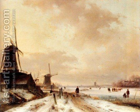 Winter: a huntsman passing woodmills on a snowy track, skaters on a frozen river beyond by Andreas Schelfhout - Reproduction Oil Painting