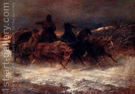 A Troika In Winter by Adolf Schreyer - Reproduction Oil Painting