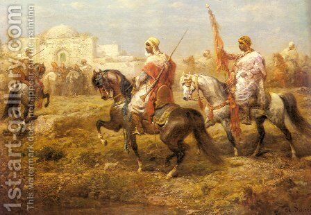 Arab Cavalry Approaching an Oasis by Adolf Schreyer - Reproduction Oil Painting