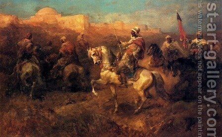 Arab Horsemen On The March by Adolf Schreyer - Reproduction Oil Painting