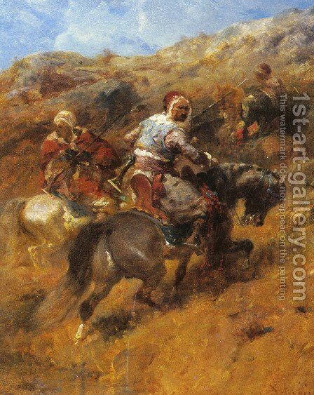 Arab Warriors On A Hillside by Adolf Schreyer - Reproduction Oil Painting