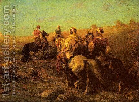 Arabian Horseman near a Watering Place by Adolf Schreyer - Reproduction Oil Painting